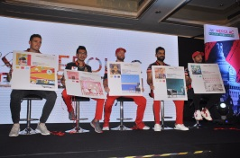 Pic 001- Cricketers from Royal Challengers Bangalore at the launch of 'Colour Trails Wall Designs' by Kansai Nerolac Paints Ltd