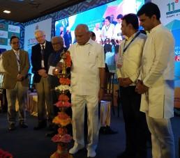 Chief Minister Shri. B S Yediyurappa lighting the lamp at the Bengaluru India Nano 2020